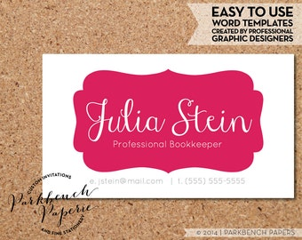 Business Card Template - Magenta Frame -  DIY Editable Word Template, Instant Download, Printable