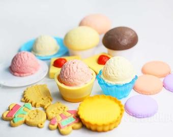 1 pcs Decoden PVC Dollhouse Dessert Gingerbread Macarons Cup Cake Sponge Cake Fake Food Miniature JP378