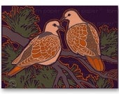 "Pair of TURTLE DOVES - ""Share the Love""  Christmas - Wedding - Engagement - Anniversayr - 5""x7""  Collage Art Card  (CVAL2013028)"