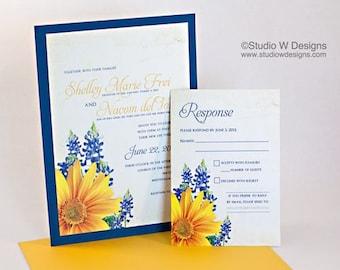 Sunflower and Bluebonnet Wedding Invitation Ensemble