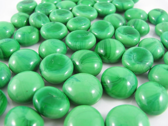 green opaque mini glass gems nuggets by