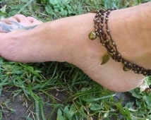 Beaded Anklet, summer hippie anklet, boho anklet, leaf charms, bells, gypsy jewelry, gift for her, gift for best friend, many colors