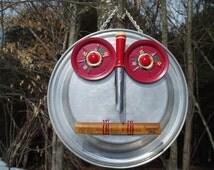 Handmade Recycled Upcycled Owl Clara Hootenanny