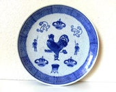 Blue Rooster Plate, Vintage, Home Decor