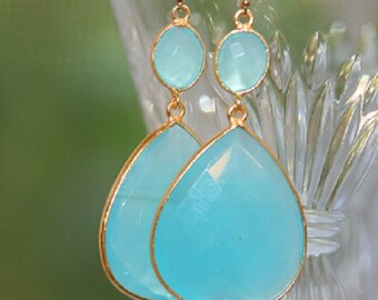 AQUA CHALCEDONY, EARRINGS, aqua blue earrings, aqua dangle earrings, aqua double earrings, everyday earrings, statement earrings, dangle