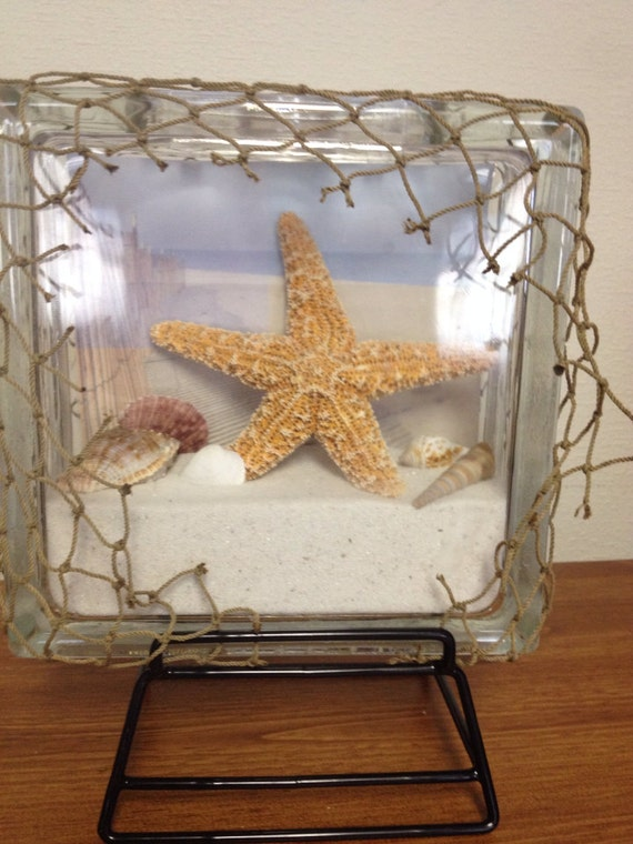 Items Similar To Beach In A Box Decorative Glass Block On Etsy