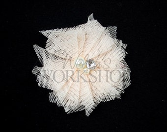 """Pale Coral - Set of 3 Tulle Pearl & Rhinestone 2"""" Flowers - TPR-008"""