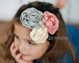 Gray, Mauve/Pink, Ivory Vintage Inspired Headband, Photo Prop, Fasinator, Couture, Girl, Newborn, Infant, Toddler
