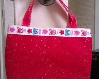 Very cute red glitter  felted giftbag, basket, with kawaii ribbon