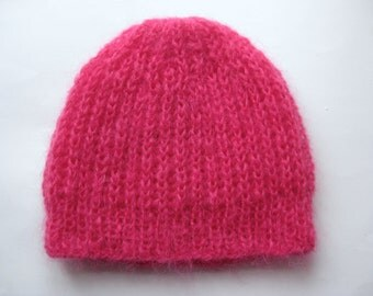 Wool hat, Knitted Hat, Mohair Hat, Knitted Beret, Fuchsia pink
