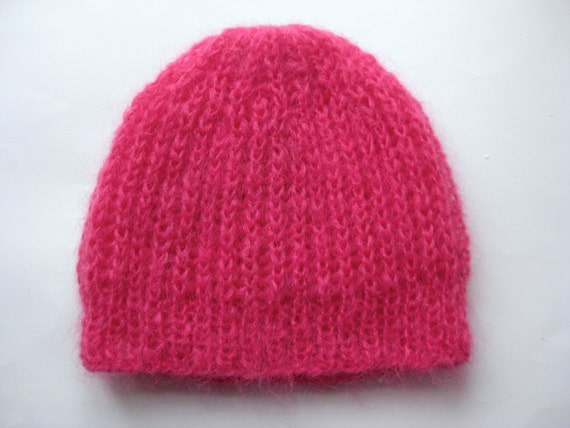 Knitting Pattern For Mohair Hat : Wool hat Knitted Hat Mohair Hat Knitted Beret Fuchsia pink