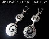 Sterling Silver 925 Modern Gratuated Spiral Greek Key Hammered Dangle Earrings