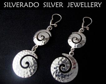 Sterling Silver 925 Modern Gratuated Spiral Greek Key Hammered Dangle Earrings