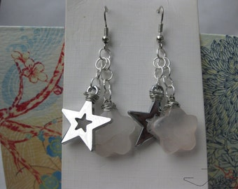 Pink Quartz and Silver Star Stainless Steel Earrings