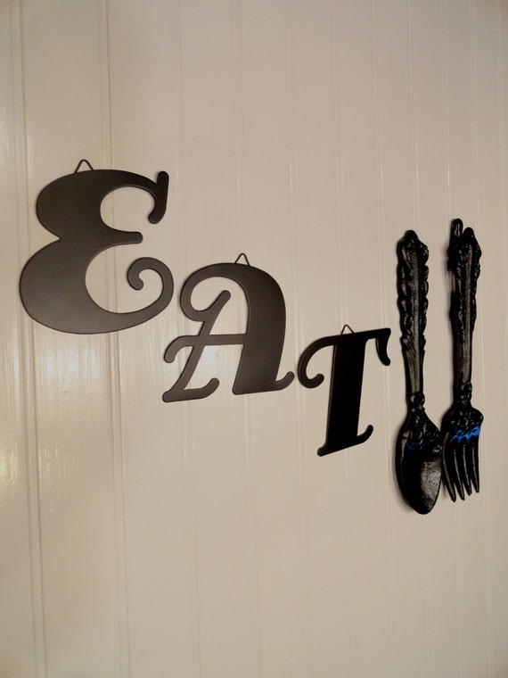 Large metal fork spoon wall decor eat sign shabby chic for Dining room metal wall art