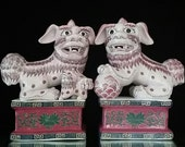 SALE Pink Pair of Porcelain Foo Dog Statue Sculpture Fu Dog Budda Fo Dog of Fo Chinese Religious
