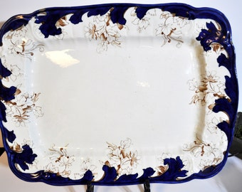 Huge Blue and  White platter, More in our shop, Antique English, Vintage platter small nick, #1800a  This platter is really huge...