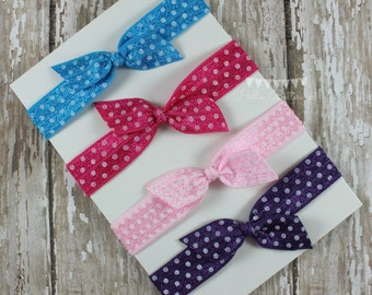 4 No Tug Elastic Hair Ties - Bright Polka Dot Ponytail Holders - Hairties