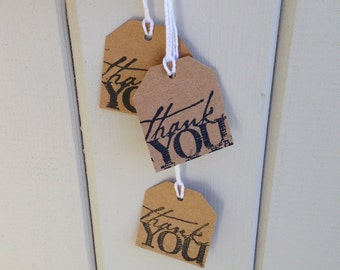 Rustic Thank You tags Kraft brown wedding favor guest bags, gift tag, small Handmade stamped