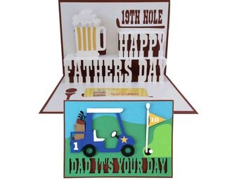 Fathers Day Golf Pop Up Card 3D SVG