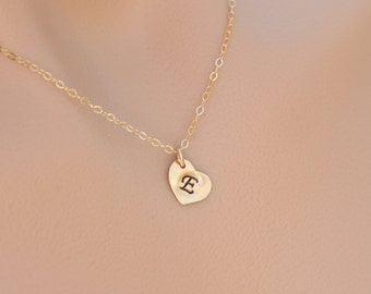 Heart initial Gold Necklace,tiny initial charm,Simple Daily Jewelry,Bridesmaid Gifts,Wedding Jewelry,Everyday necklace