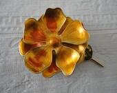 Vintage West Germany Signed Rust Orange Tiered Flower Enamel Brooch Pin