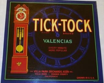 Rare Tick-Tock Citrus Crate Label circa 1930