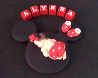 Fondant personalized Minnie Mouse cake topper for Baby Shower, Birthday, Party Favor