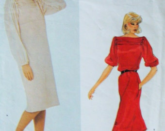 Uncut Vintage Vogue American Designers Dress Sewing Pattern no 2747 Size 8 Geoffrey Beene