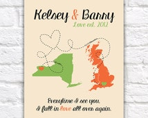 Long Distance Relationship, Gift for Boyfriend, Husband, Fiance - Custom Gift -  Personalized Art Print, Deployment, Military Love