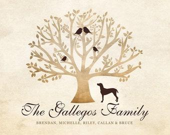 Family Tree Gift, Gift for Family, Tree with Birds, Pet, Pet Memorial Gift, Family Name, Surname Art, Golden Retriever, Dog Family Gift