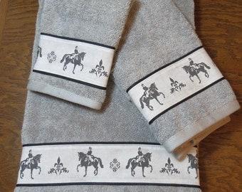 Dressage Horse Set of Bath Towels - Choice of Color - Black, White, Gray.