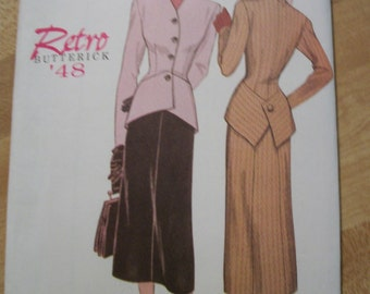 Butterick 6257 Retro '48 semi-fitted jacket with A-line skirt.  Size 6-8-10