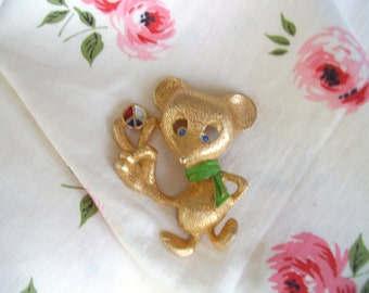 Vintage Peace Hippie Mouse Brooch Pin
