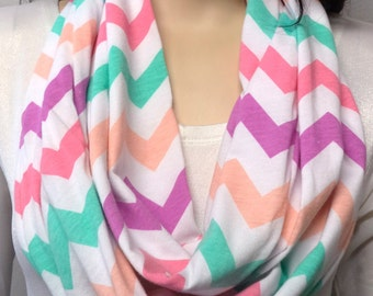Rainbow Sherbert  & White Chevron Print  Infinity Scarf  Jersey Knit Gift Ideas