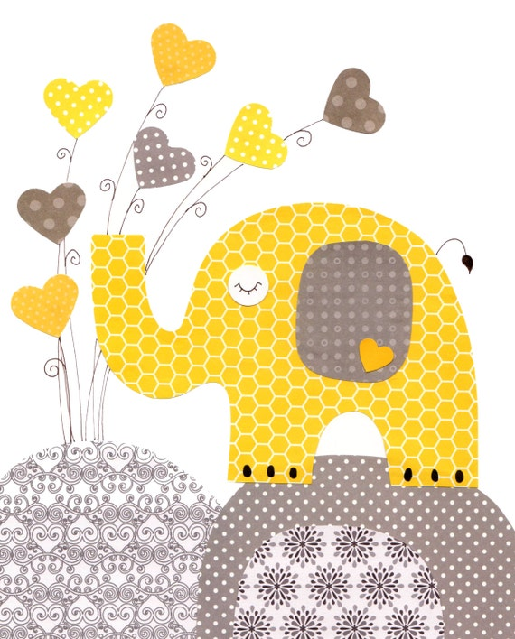 yellow grey elephant heart nursery artwork print baby room. Black Bedroom Furniture Sets. Home Design Ideas