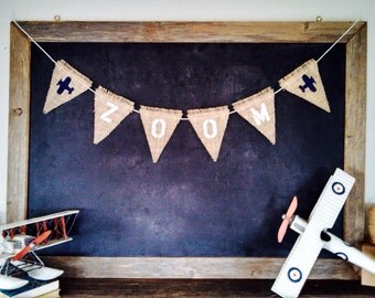 Zoom Baby Airplane Banner Nursery Boy Burlap Bunting Canvas Triangle Flag Pennant Childrens Birthday  Aviation Room Decor