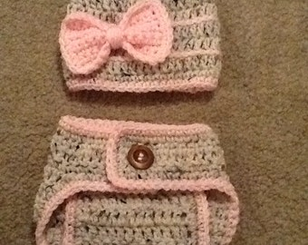 Crocheted Bow Diaper Cover Photo Prop Set