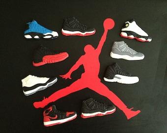 12 Michael Jordan Edible Cupcake Toppers Fondant Gumpaste sneaker
