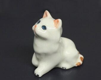 Miniature Animals Ceramic White Kitten Cat Ceramic Hand painted