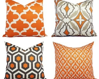 Two Throw Pillow Covers Orange and Beige - 18 x 18 Inch Decorative Pillow - Orange Quatrefoil Pillow - Accent Pillow -  Pillow Covers