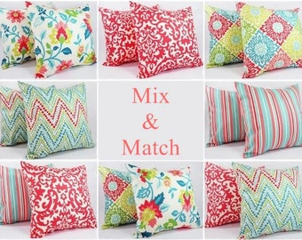 Pillow Cover - Coral and Teal Pillow Cover - Teal and Coral Pillow Covers - Decorative Pillow Cushion Cover Pillow