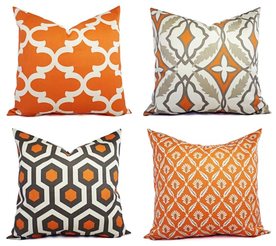 Two Throw Pillow Covers Orange and Beige 18 by CastawayCoveDecor