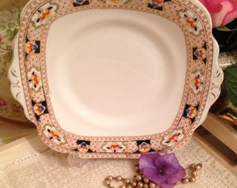 1930s Vintage Square Eared Cake Plate Made in England By Royal Vale. CP045