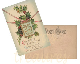 Vintage Style Christmas Greetings Postcard Digital Images for card making or Crafts