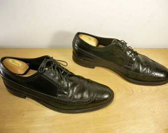 Vintage Made in USA Black Leather Men's Work Wingtips Pimp Gangster Dress Shoes Oxford Size 11.5