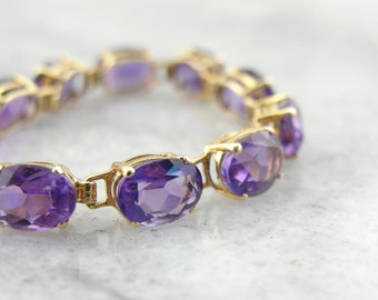 Amethyst Tennis Bracelet, Deep Purple and Bright Gold A22KL0-N
