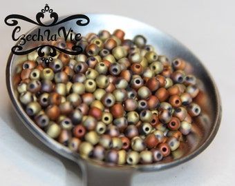 3mm Druk  Beads Jet California Gold Rush Matted (3-98572)