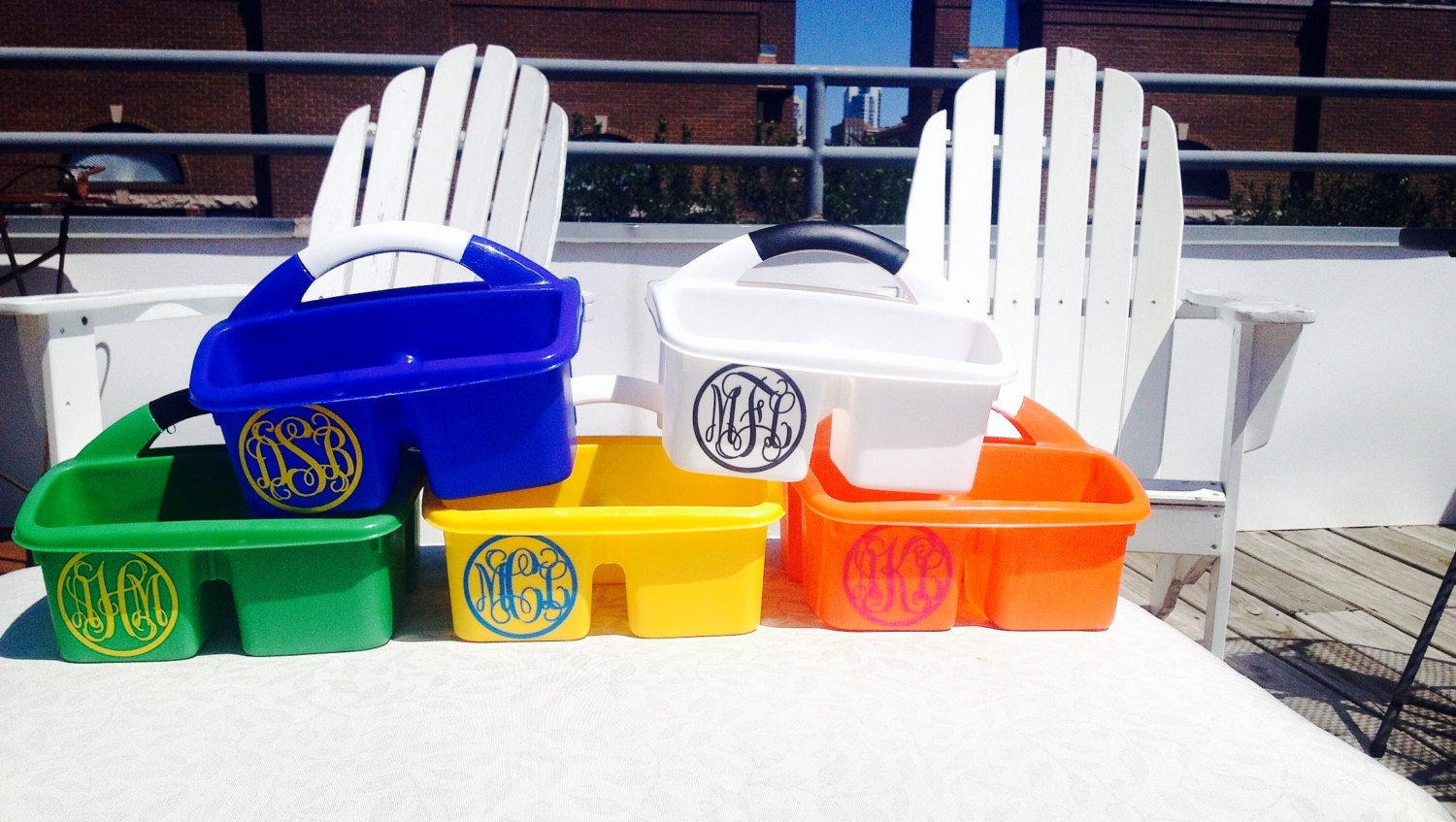 monogrammed shower caddy a must have for college dorm room. Black Bedroom Furniture Sets. Home Design Ideas