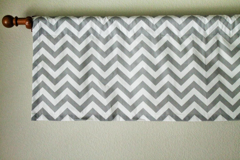 Curtain valance 50x15 chevron grey and white zig zag for Happy floors valencia grey